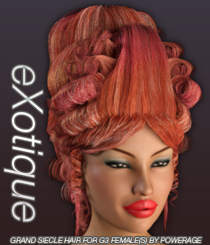 eXotique Grand Siecle Hair for G3 female(s) 3D Figure Essentials Anagord
