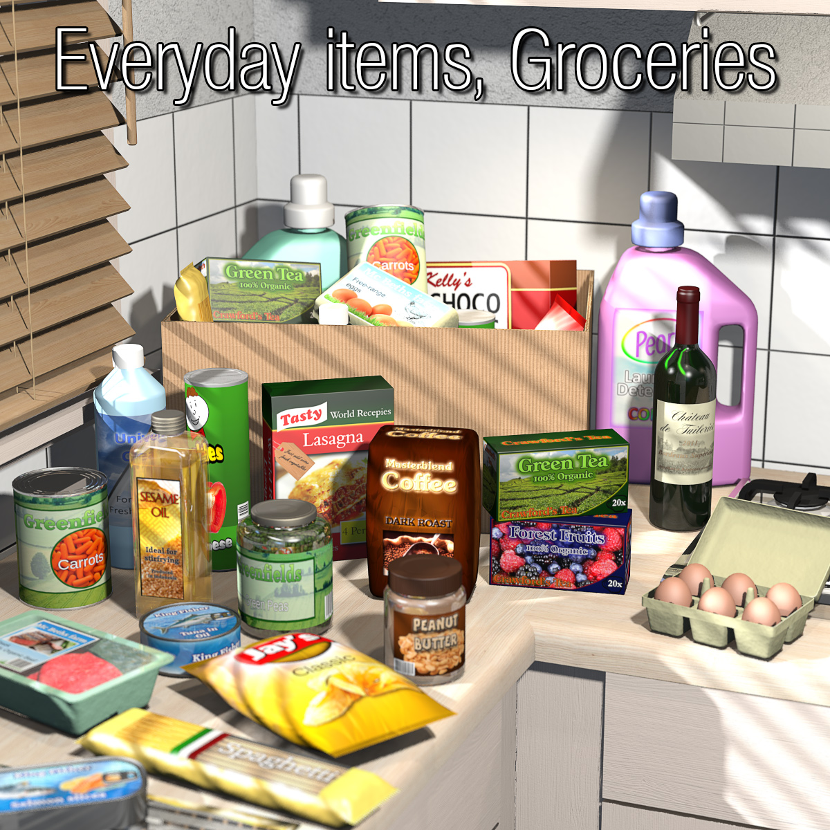 everyday items groceries 3d 2nd