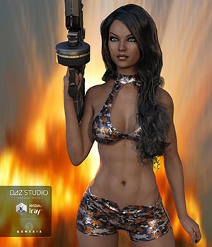 Hollywood Styles Biker Outfit: Sleeveless, Shorts, Capris & Camo Textures Add-on 3D Figure Assets LayLo3D