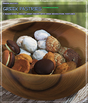 Photo Buffet: Greek Pastries - Extended License 3D Models Gaming Extended Licenses ShaaraMuse3D