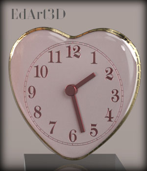 Valentine's Multi Purpose Analog Clock 3D Figure Essentials 3D Models EdArt3D