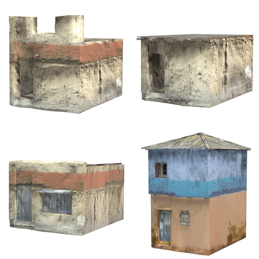 Shanty Town Buildings 2: Set 4  for Poser