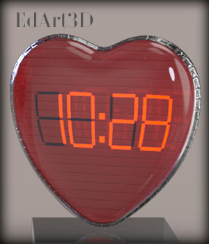 Valentine's Multi Purpose Digital Clock 3D Figure Essentials 3D Models EdArt3D