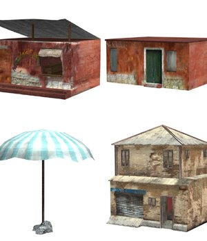 Shanty Town Buildings 2: Set 5 (for Poser) 3D Models VanishingPoint