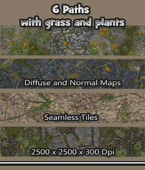 6 Seamless Paths with grass, plants, normal and diffuse maps