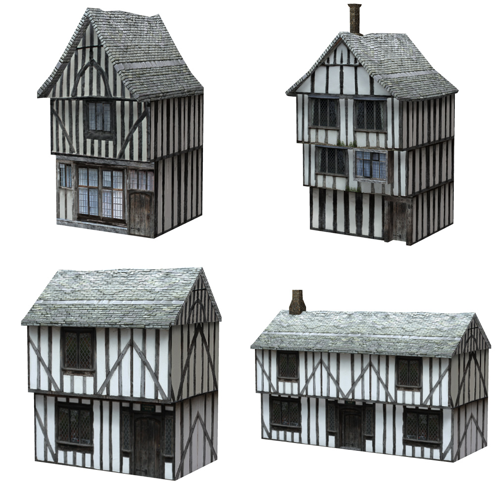 Low Polygon Medieval Buildings 1 (for Poser) - Extended License