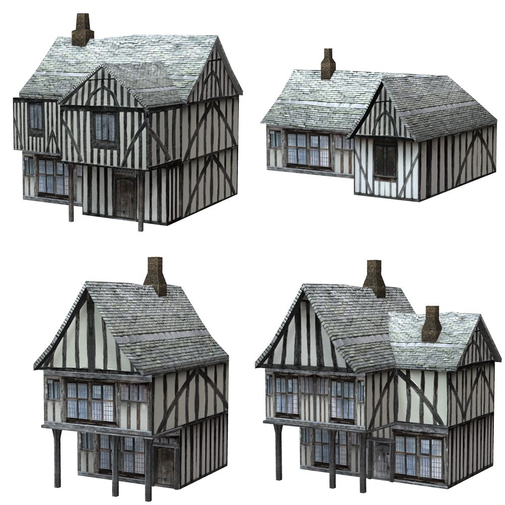 Low Polygon Medieval Buildings 2 (for Poser) - Extended License