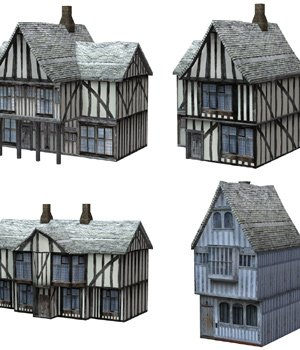Low Polygon Medieval Buildings 3 (for Poser) - Extended License 3D Models Gaming Extended Licenses VanishingPoint