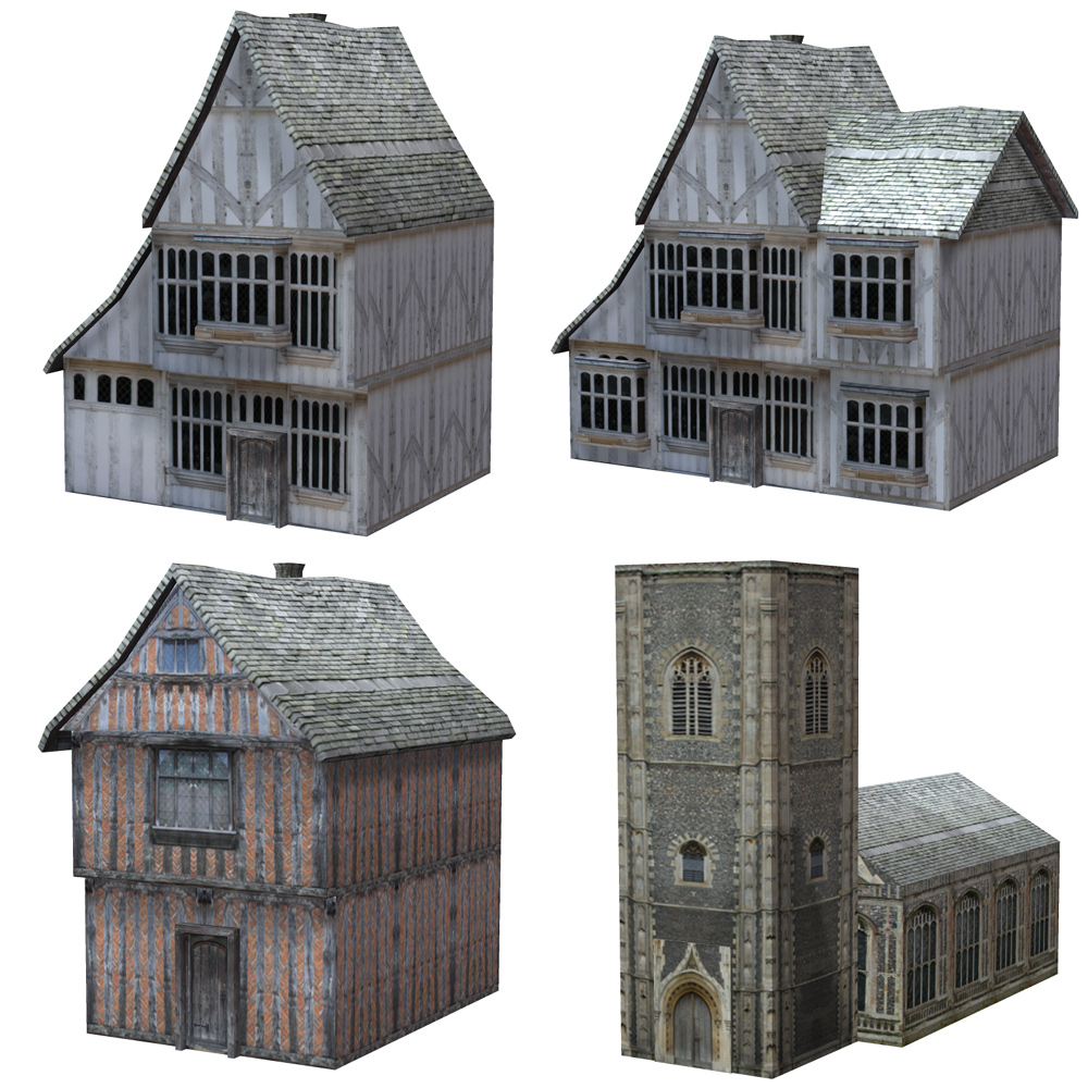 Low Polygon Medieval Buildings 4 (for Poser) - Extended License
