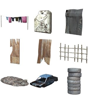 Shanty Town Buildings 1: Accessories (for Poser) - Extended License 3D Models Gaming Extended Licenses VanishingPoint