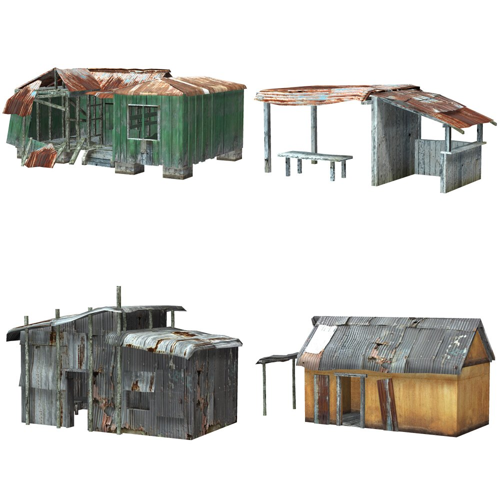 Shanty Town Buildings 1: Set 1 (for Poser) - Extended License