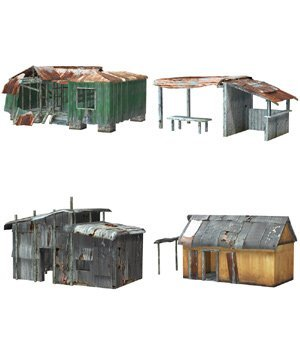 Shanty Town Buildings 1: Set 1 (for Poser) - Extended License 3D Models Gaming Extended Licenses VanishingPoint