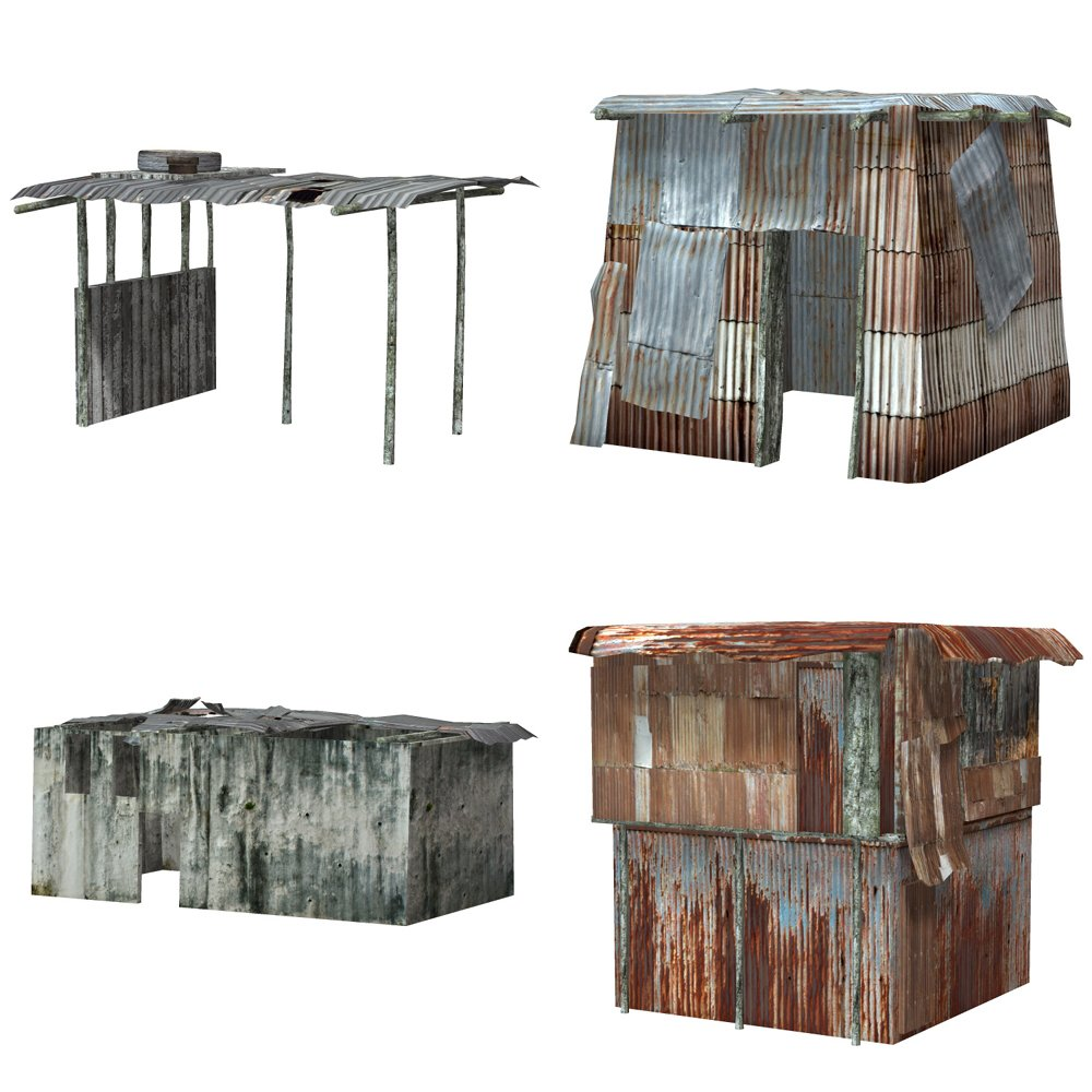 Shanty Town Buildings 1: Set 3 (for Poser) - Extended License