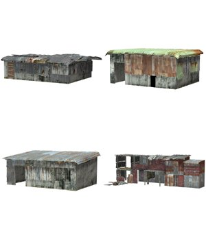 Shanty Town Buildings 1: Set 4 (for Poser) - Extended License 3D Models Gaming Extended Licenses VanishingPoint