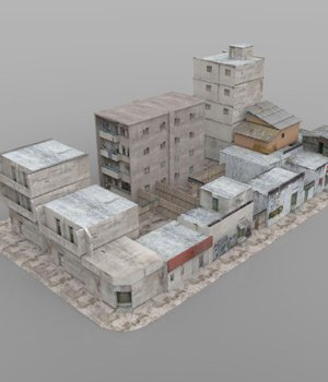 Shanty Town Buildings 2: City Block A (for Poser) - Extended License 3D Models Gaming Extended Licenses VanishingPoint