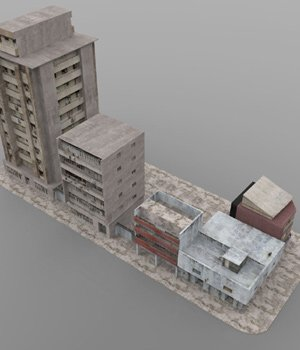 Shanty Town Buildings 2: City Block B (for Poser) - Extended License 3D Models Gaming Extended Licenses VanishingPoint