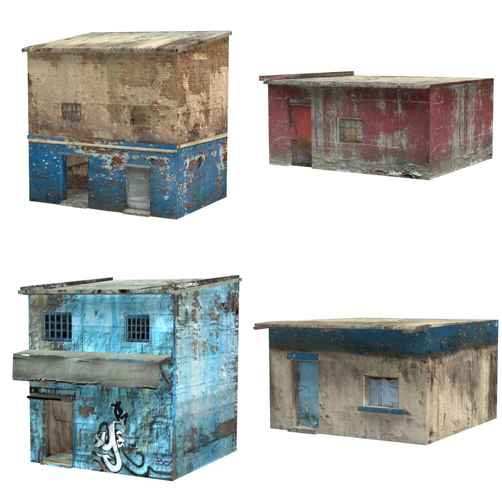 Shanty Town Buildings 2: Set 1 (for Poser) - Extended License