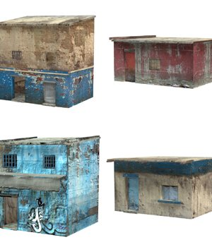 Shanty Town Buildings 2: Set 1 (for Poser) - Extended License 3D Models Gaming Extended Licenses VanishingPoint