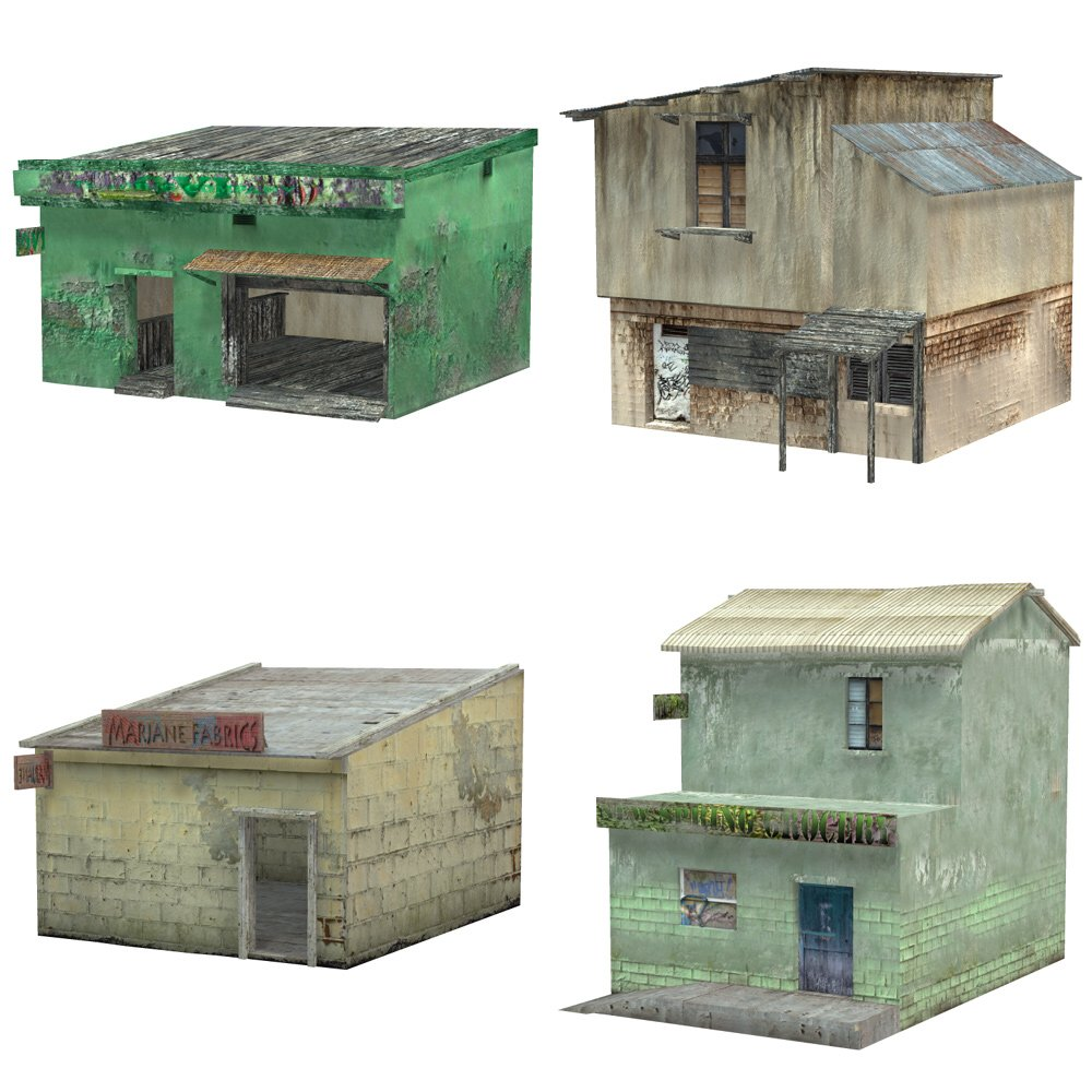 Shanty Town Buildings 2: Set 2 (for Poser) - Extended License