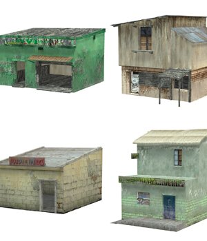 Shanty Town Buildings 2: Set 2 (for Poser) - Extended License 3D Models Gaming Extended Licenses VanishingPoint