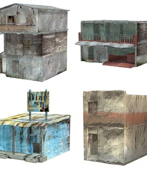 Shanty Town Buildings 2: Set 3 (for Poser) - Extended License 3D Models Gaming Extended Licenses VanishingPoint
