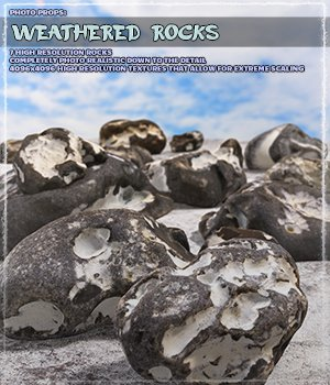 Photo Props: Weathered Rocks - Extended License 3D Models Gaming Extended Licenses ShaaraMuse3D