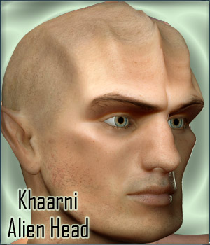 Khaarni Alien Head Morph for G2M / G3M 3D Figure Assets RPublishing