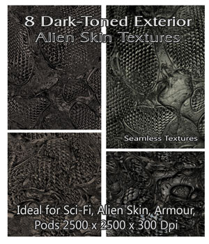 8 Dark-Toned Exterior Alien Skin Seamless Textures - Merchant Resource 2D Graphics Merchant Resources nelmi