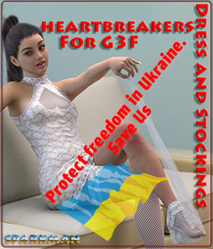 Russians heartbreakers: StValentines Day - Dress and Stockings for G3F 3D Figure Assets sparkman