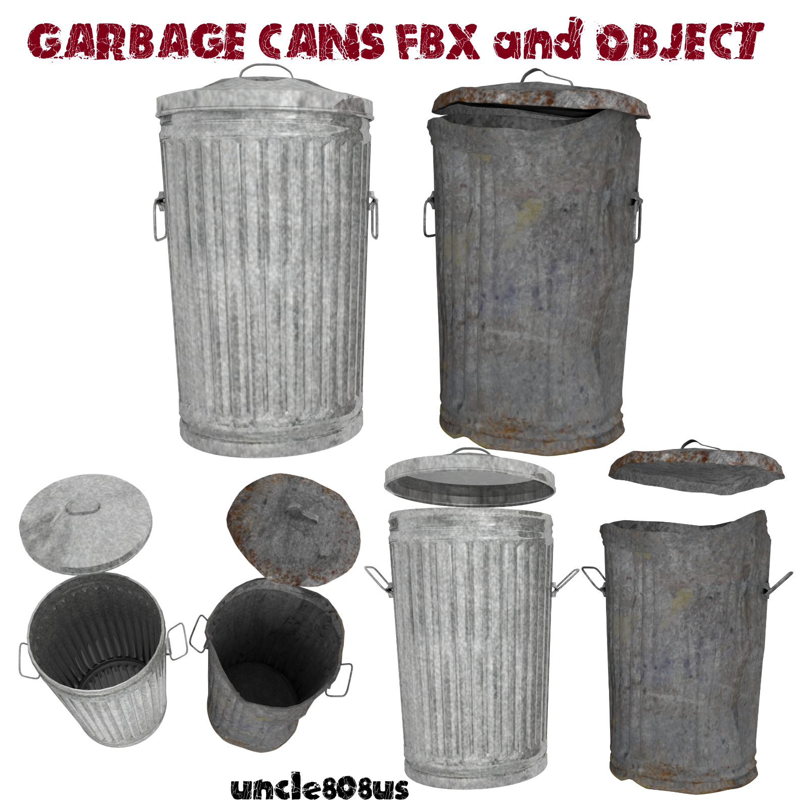 Garbage Cans fbx and Object - Extended License
