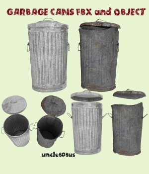 Garbage Cans fbx and Object - Extended License 3D Models Gaming Extended Licenses uncle808us