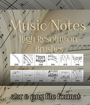 Music Notes Brushes 2D Graphics antje