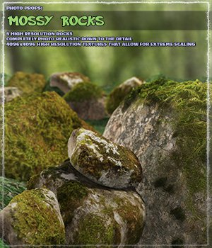 Photo Props: Mossy Rocks - Extended License 3D Models Extended Licenses ShaaraMuse3D