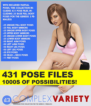 i13 Complex Variety Pose Collection for the Genesis 3 Female(s) 3D Figure Essentials ironman13