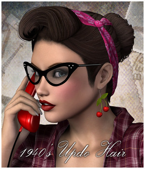 1940's Updo Hair - Extended License 3D Figure Assets Extended Licenses RPublishing