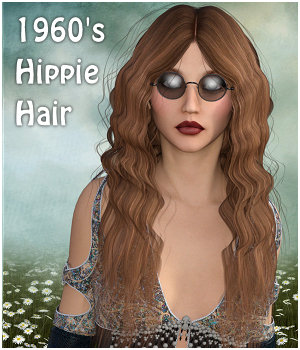 1960's Hippie Hair - Extended License 3D Figure Assets Extended Licenses RPublishing