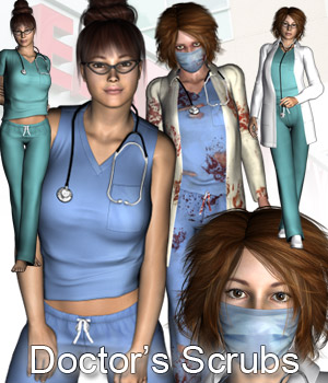 Doctor's Scrubs - Extended License 3D Figure Assets 3D Models Extended Licenses RPublishing