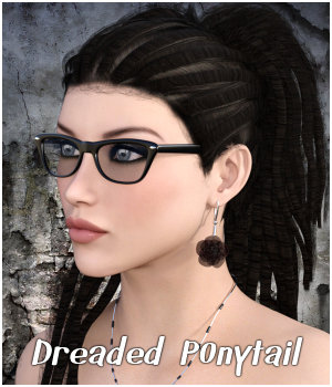 Dreaded Ponytail Hair G2F & V4 - Extended License 3D Figure Assets Extended Licenses RPublishing