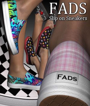 Fads Slip On Sneakers - Extended License 3D Figure Assets Extended Licenses RPublishing