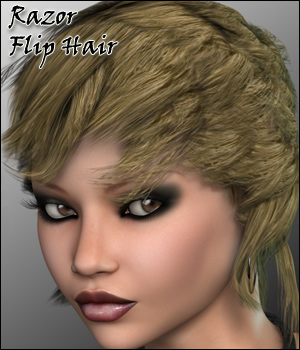 Razor Flip Hair - Extended License 3D Figure Assets Extended Licenses RPublishing
