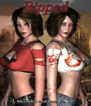 Ripped Shirt & Bra - Extended License 3D Figure Assets 3D Models Extended Licenses RPublishing