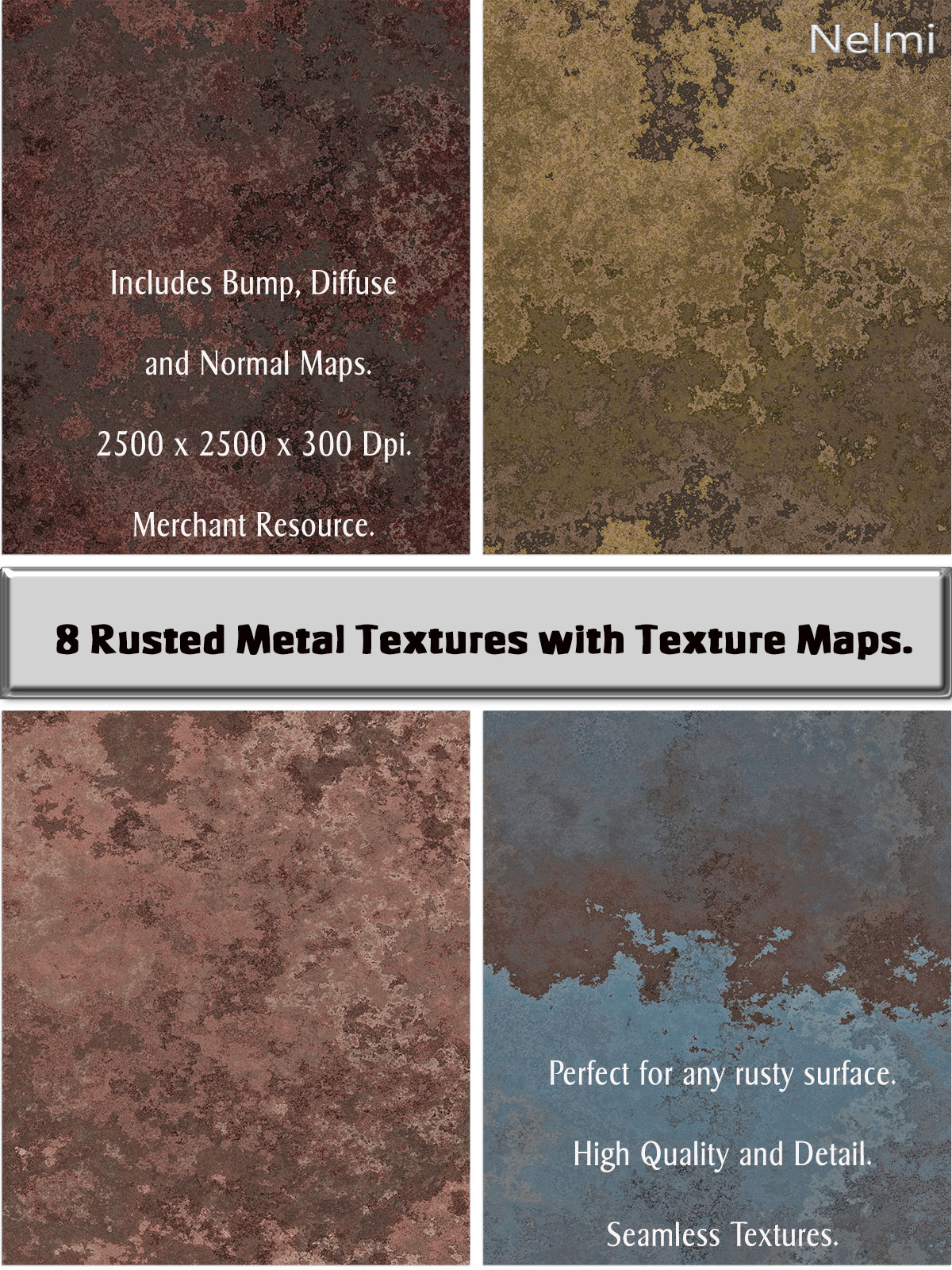 8 Seamless Rusty Metal Textures with Texture Maps - Merchant Resource