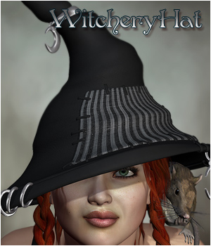 Witchery Hat 3D Figure Assets digiPixel