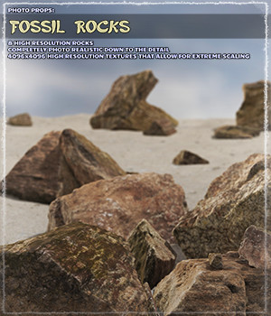Photo Props: Fossil Rocks - Extended License 3D Models Gaming Extended Licenses ShaaraMuse3D