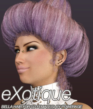 eXotique Bella Hair for G3 female(s) 3D Figure Assets Anagord