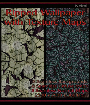 8 Seamless Ripped Wallpaper with Texture Maps: Diffuse and Normal 2D Graphics nelmi