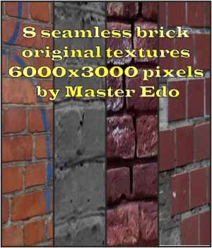 8 Seamless brick original  textures  6000x3000 pixels  by Master Edo 2D Graphics Merchant Resources MasterEdo