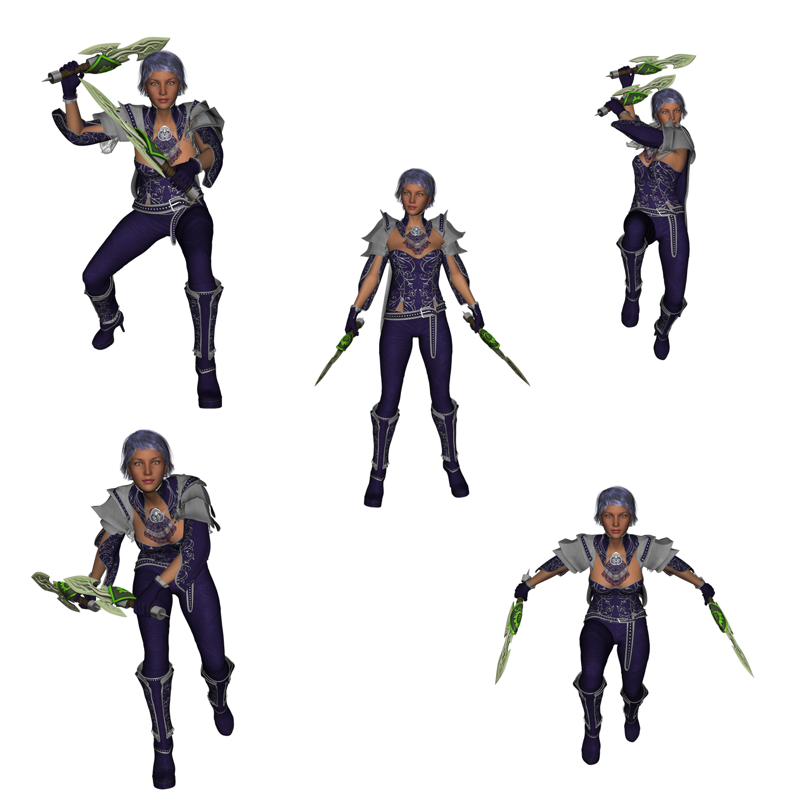 Dual Wield Swords Poses For G3 3d Figure Assets Thecava