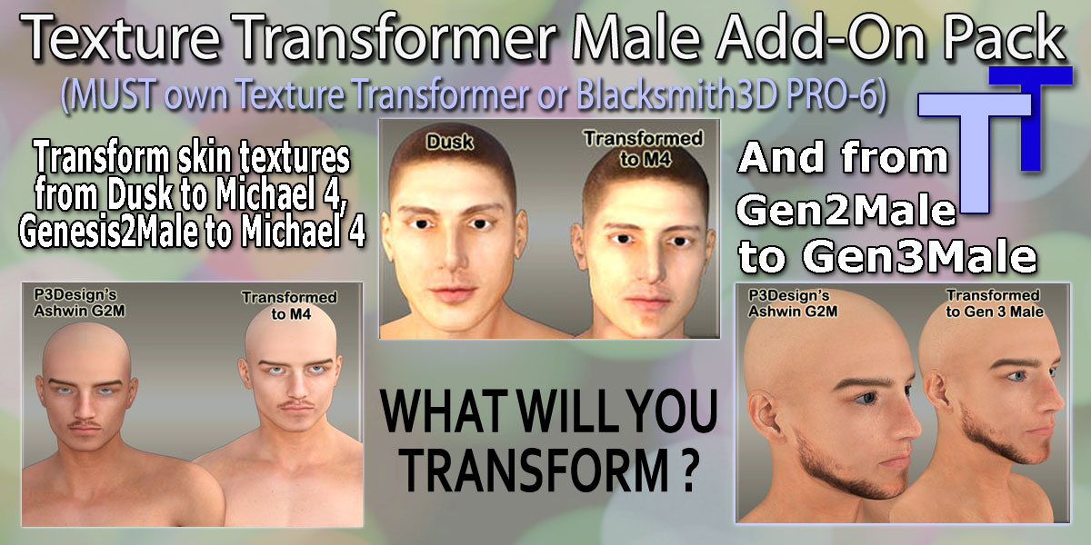 Texture Transformer Male Add-on Pack by Blacksmith3D