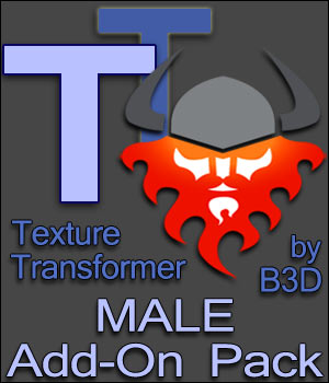 Texture Transformer Male Add-on Pack 3D Software : Poser : Daz Studio : iClone Blacksmith3D
